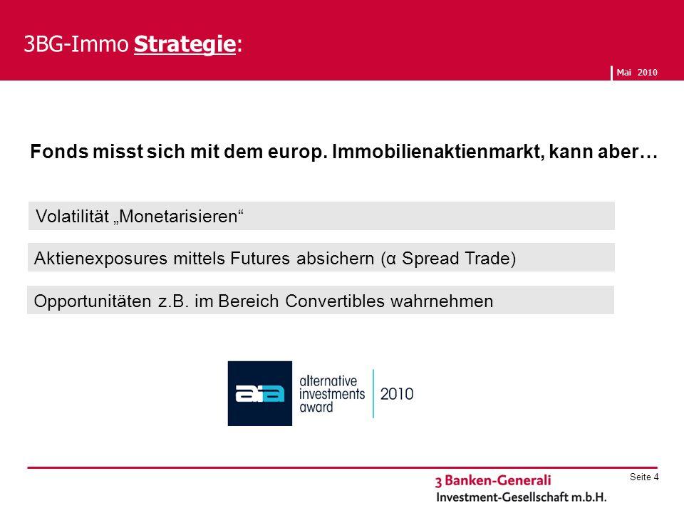 Mai 2010 Seite 4 3BG-Immo Strategie: Fonds misst sich mit dem europ. Immobilienaktienmarkt, kann aber… Opportunitäten z.B. im Bereich Convertibles wah