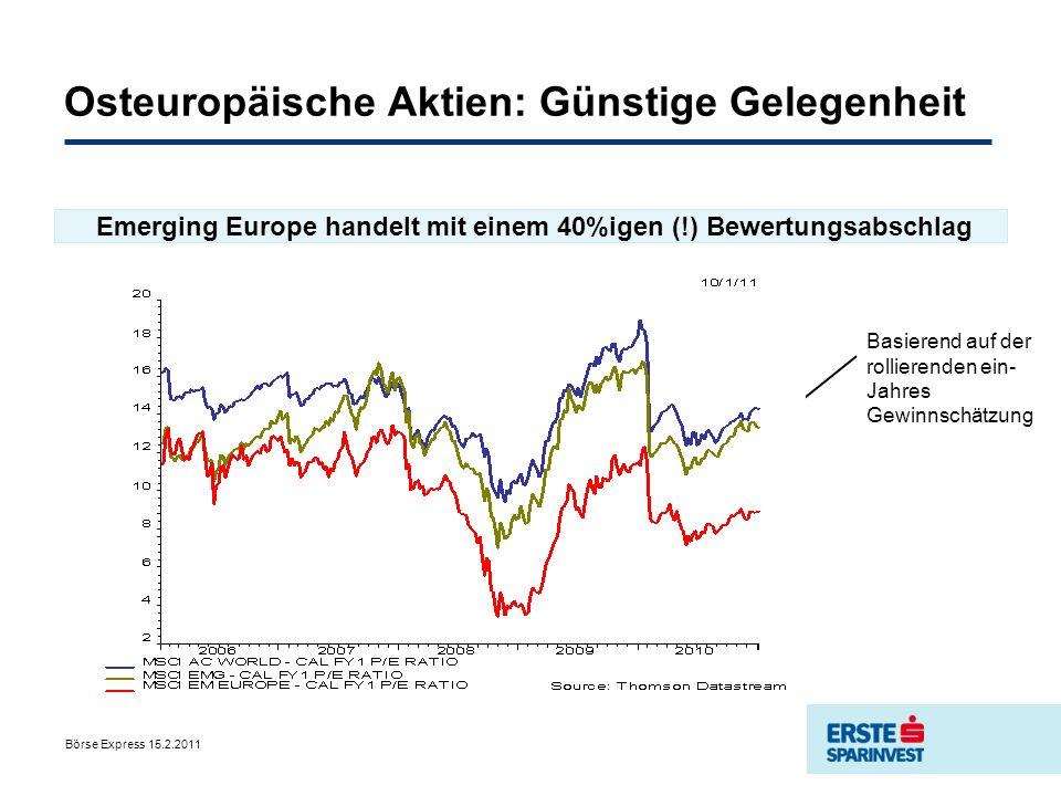 Börse Express 15.2.2011 Osteuropäische Aktien: Günstige Gelegenheit Emerging Europe handelt mit einem 40%igen (!) Bewertungsabschlag Basierend auf der