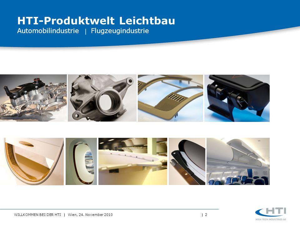 WILLKOMMEN BEI DER HTI Wien, 24. November 2010 2 HTI-Produktwelt Leichtbau Automobilindustrie Flugzeugindustrie