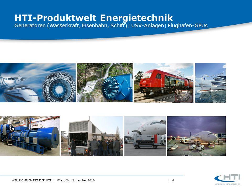 WILLKOMMEN BEI DER HTI Wien, 24. November 2010 4 HTI-Produktwelt Energietechnik Generatoren (Wasserkraft, Eisenbahn, Schiff) USV-Anlagen Flughafen-GPU