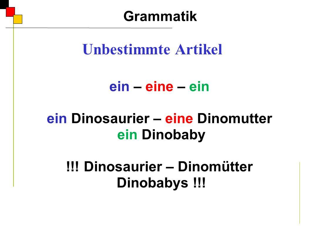 ein – eine – ein ein Dinosaurier – eine Dinomutter ein Dinobaby !!! Dinosaurier – Dinomütter Dinobabys !!! Grammatik A Unbestimmte Artikel