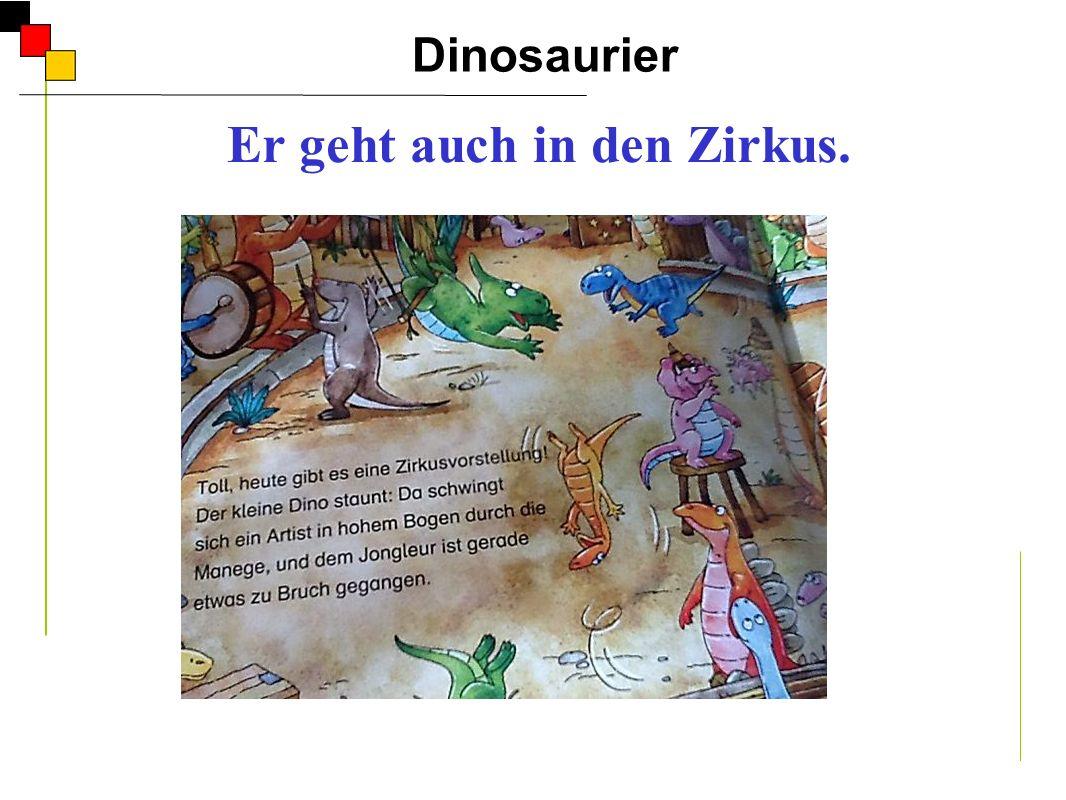 Dinosaurier A Er geht auch in den Zirkus. Er