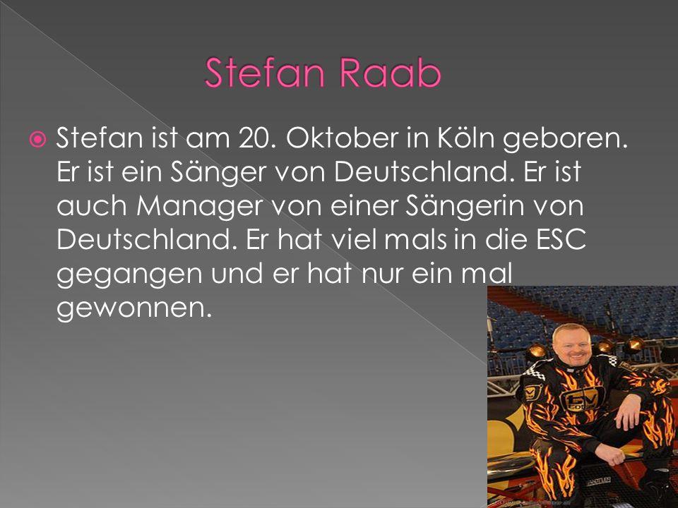 Stefan ist am 20. Oktober in Köln geboren. Er ist ein Sänger von Deutschland.