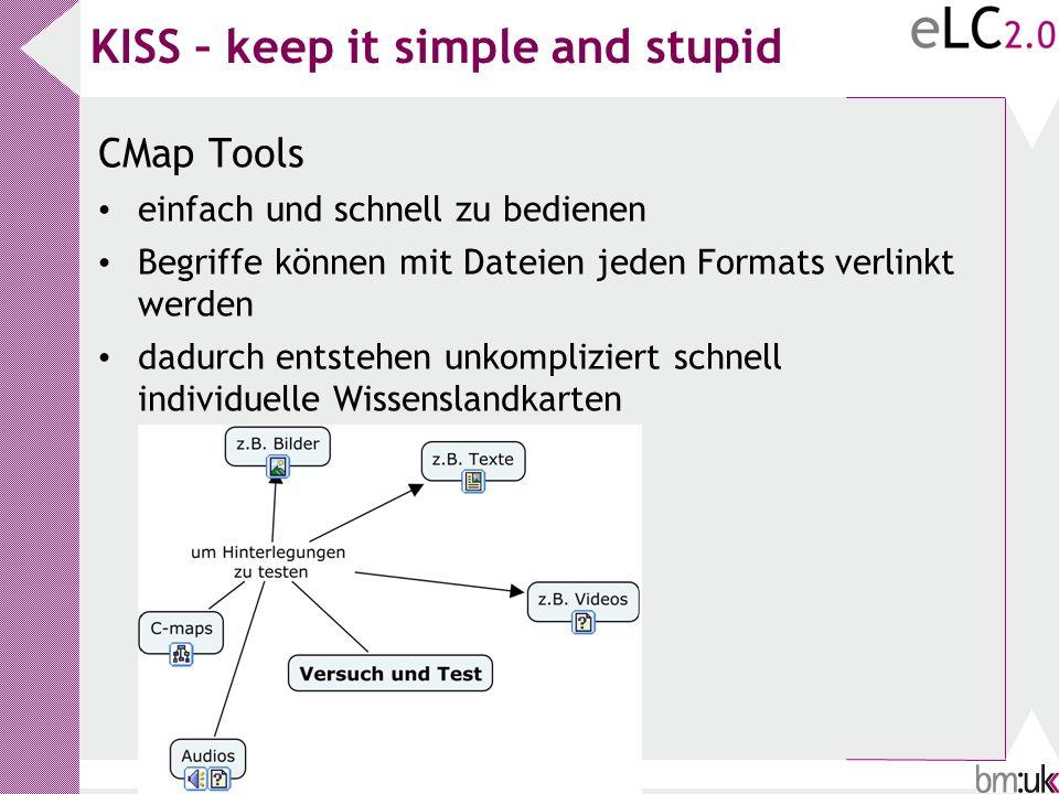 KISS – keep it simple and stupid CMap Tools einfach und schnell zu bedienen Begriffe können mit Dateien jeden Formats verlinkt werden dadurch entstehe