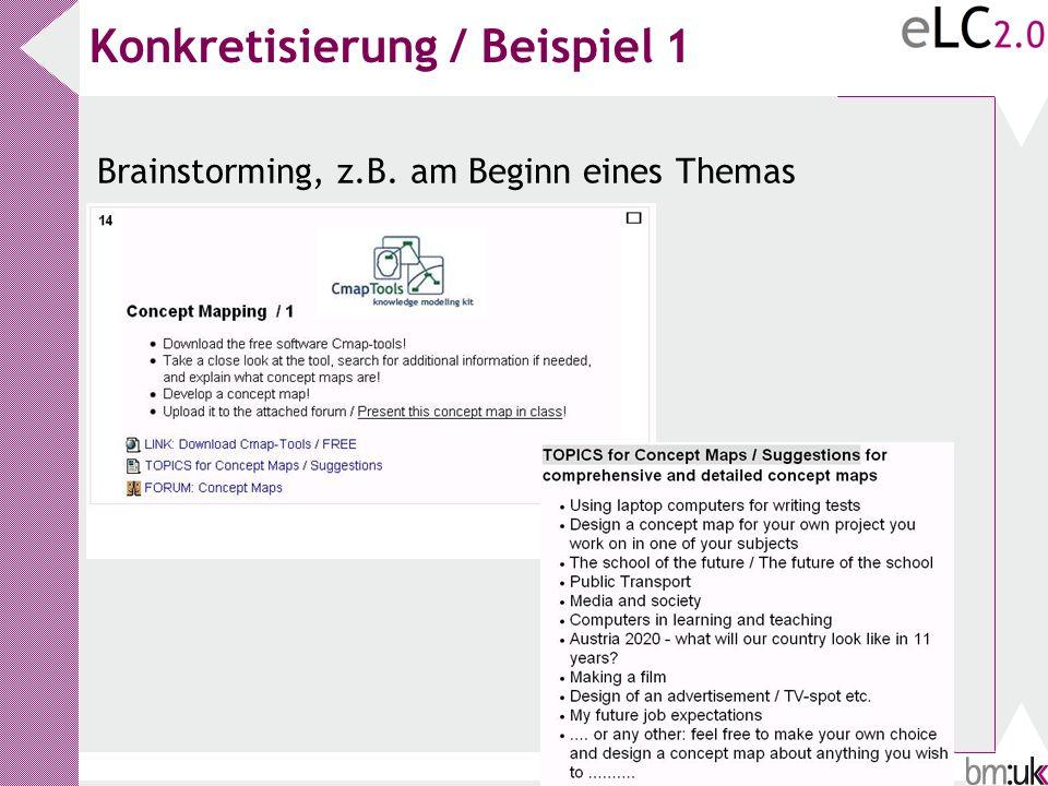 Konkretisierung / Beispiel 1 Brainstorming, z.B. am Beginn eines Themas