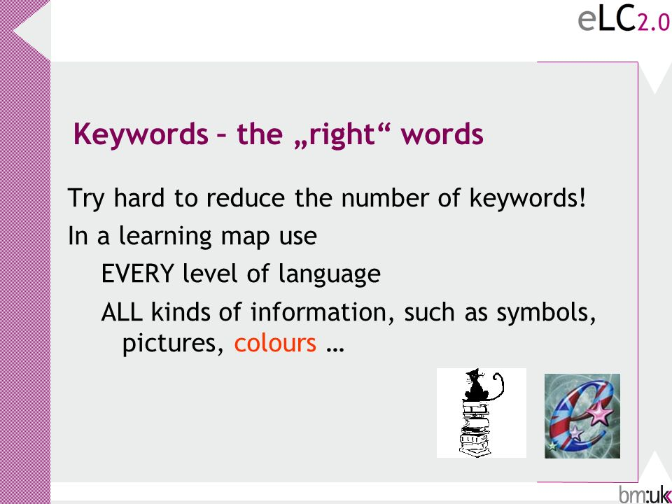 Keywords – the right words Try hard to reduce the number of keywords.