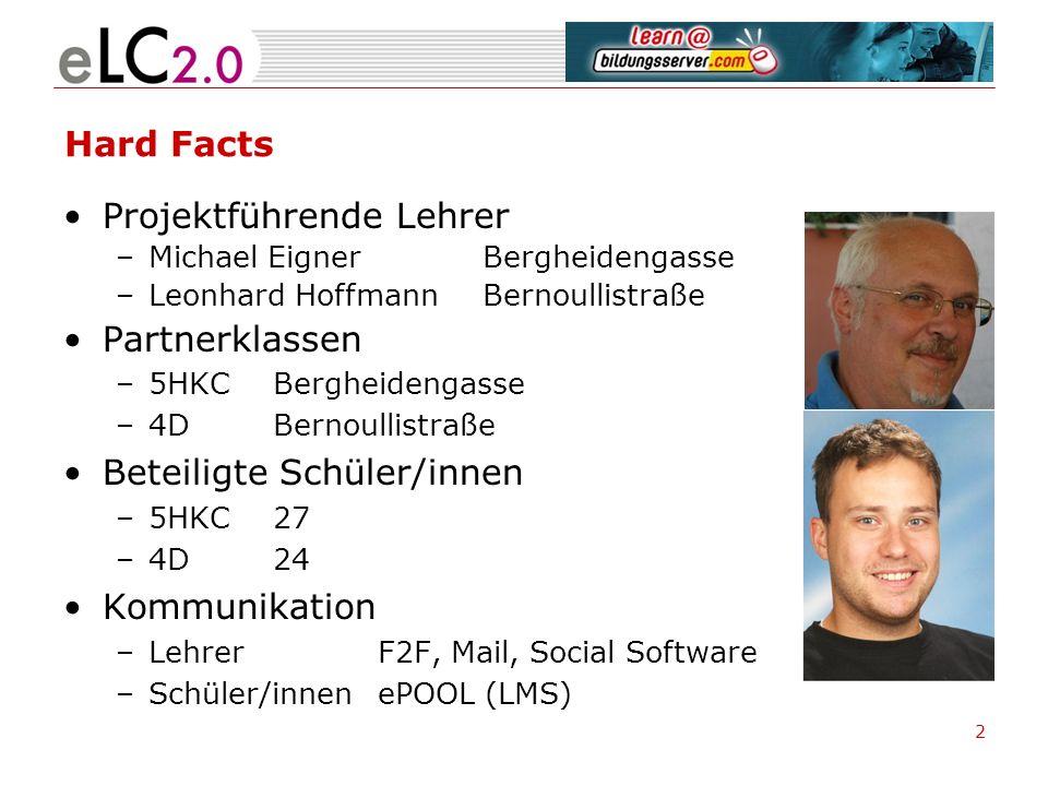 2 Hard Facts Projektführende Lehrer –Michael Eigner Bergheidengasse –Leonhard HoffmannBernoullistraße Partnerklassen –5HKC Bergheidengasse –4D Bernoul
