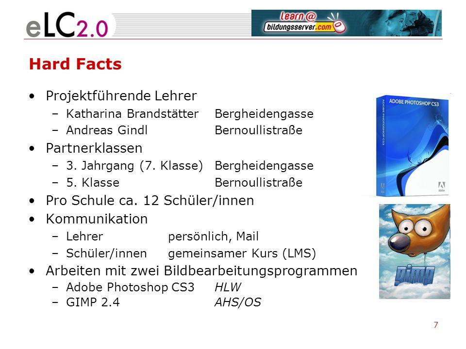 7 Hard Facts Projektführende Lehrer –Katharina BrandstätterBergheidengasse –Andreas GindlBernoullistraße Partnerklassen –3. Jahrgang (7. Klasse)Berghe