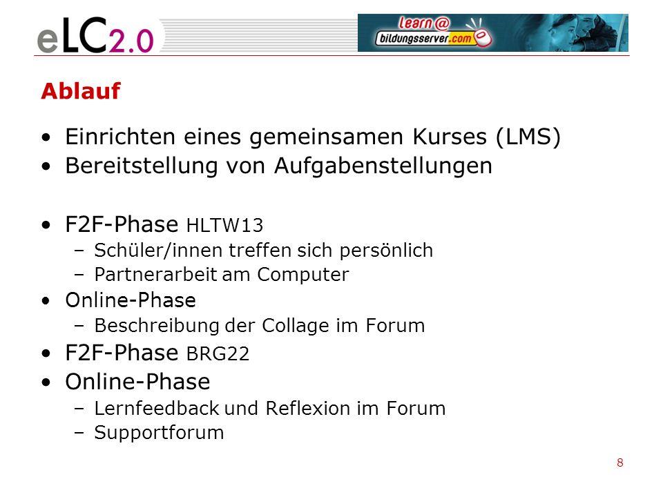 Ablauf Einrichten eines gemeinsamen Kurses (LMS) Bereitstellung von Aufgabenstellungen F2F-Phase HLTW13 –Schüler/innen treffen sich persönlich –Partne
