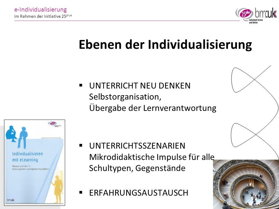 13 e-Individualisierung im Rahmen der Initiative 25 plus UNTERRICHT NEU DENKEN Selbstorganisation, Übergabe der Lernverantwortung UNTERRICHTSSZENARIEN