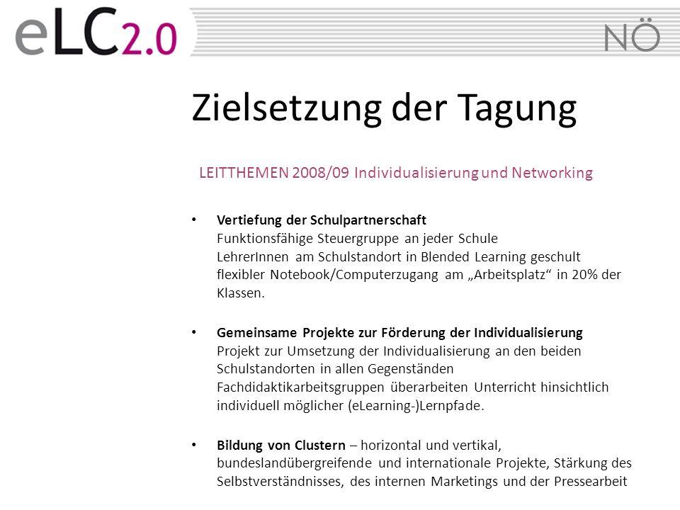 NÖ LEITTHEMEN 2008/09 Individualisierung und Networking Vertiefung der Schulpartnerschaft Funktionsfähige Steuergruppe an jeder Schule LehrerInnen am