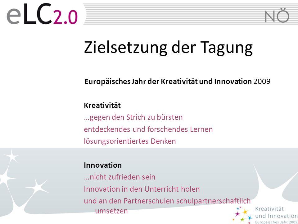 NÖ Zielsetzung der Tagung Europäisches Jahr der Kreativität und Innovation 2009 Kreativität …gegen den Strich zu bürsten entdeckendes und forschendes