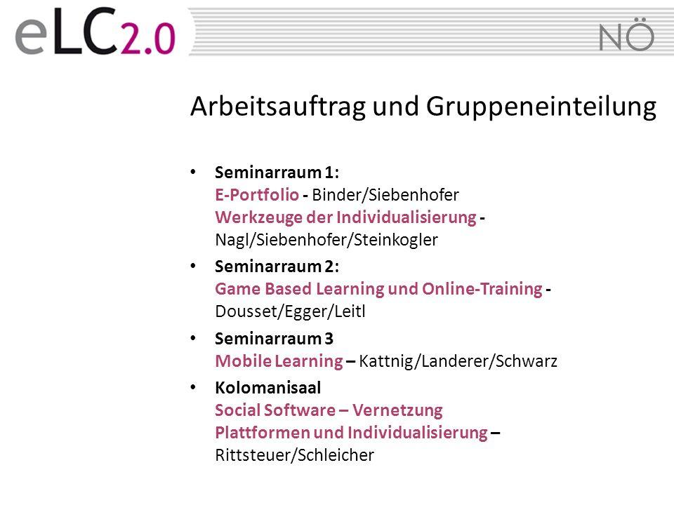 NÖ Arbeitsauftrag und Gruppeneinteilung Seminarraum 1: E-Portfolio - Binder/Siebenhofer Werkzeuge der Individualisierung - Nagl/Siebenhofer/Steinkogle