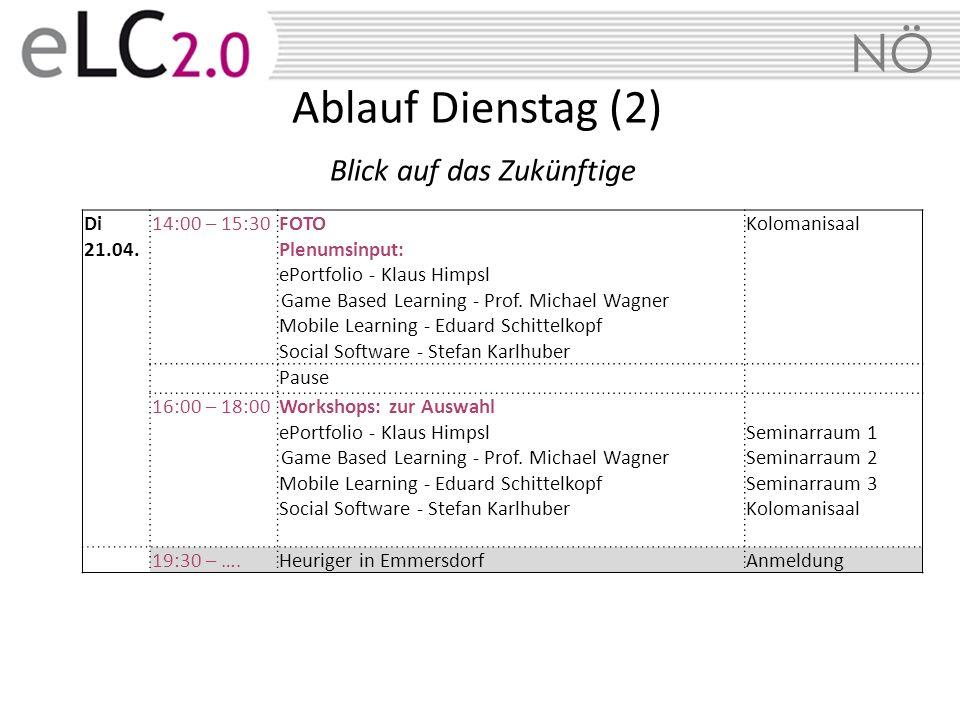 NÖ Di 21.04. 14:00 – 15:30FOTO Plenumsinput: ePortfolio - Klaus Himpsl Game Based Learning - Prof. Michael Wagner Mobile Learning - Eduard Schittelkop