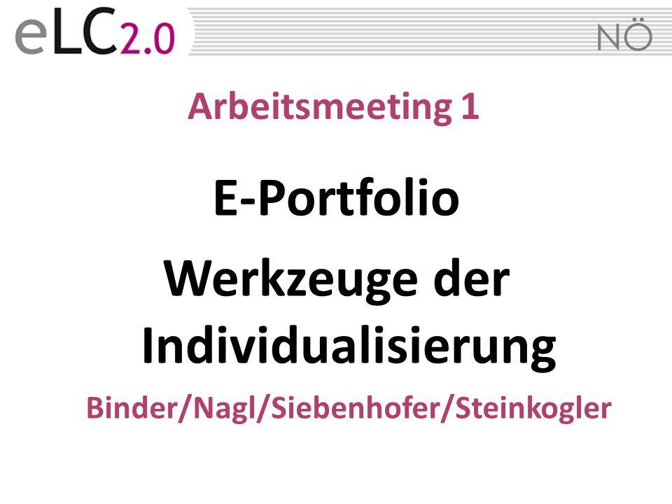 NÖ Arbeitsmeeting 1 E-Portfolio Werkzeuge der Individualisierung Binder/Nagl/Siebenhofer/Steinkogler