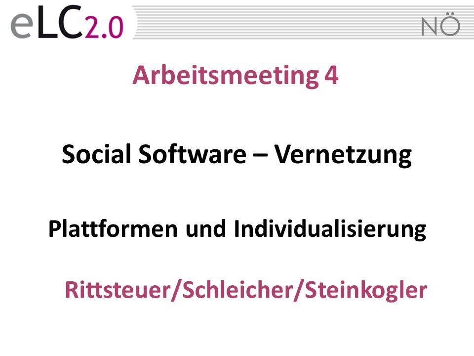 NÖ Arbeitsmeeting 4 Social Software – Vernetzung Plattformen und Individualisierung Rittsteuer/Schleicher/Steinkogler