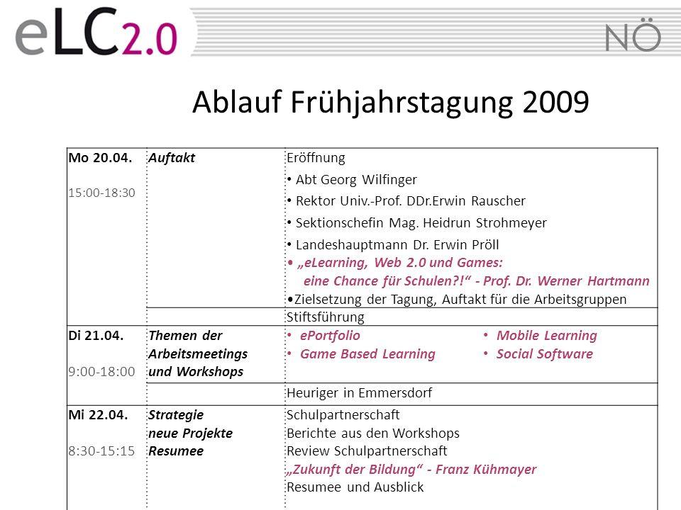 NÖ Ablauf Frühjahrstagung 2009 Mo 20.04. 15:00-18:30 AuftaktEröffnung Abt Georg Wilfinger Rektor Univ.-Prof. DDr.Erwin Rauscher Sektionschefin Mag. He