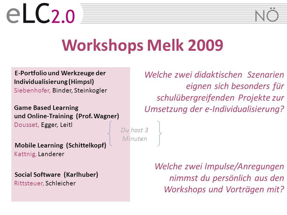 NÖ Workshops Melk 2009 E-Portfolio und Werkzeuge der Individualisierung (Himpsl) Siebenhofer, Binder, Steinkogler Game Based Learning und Online-Train