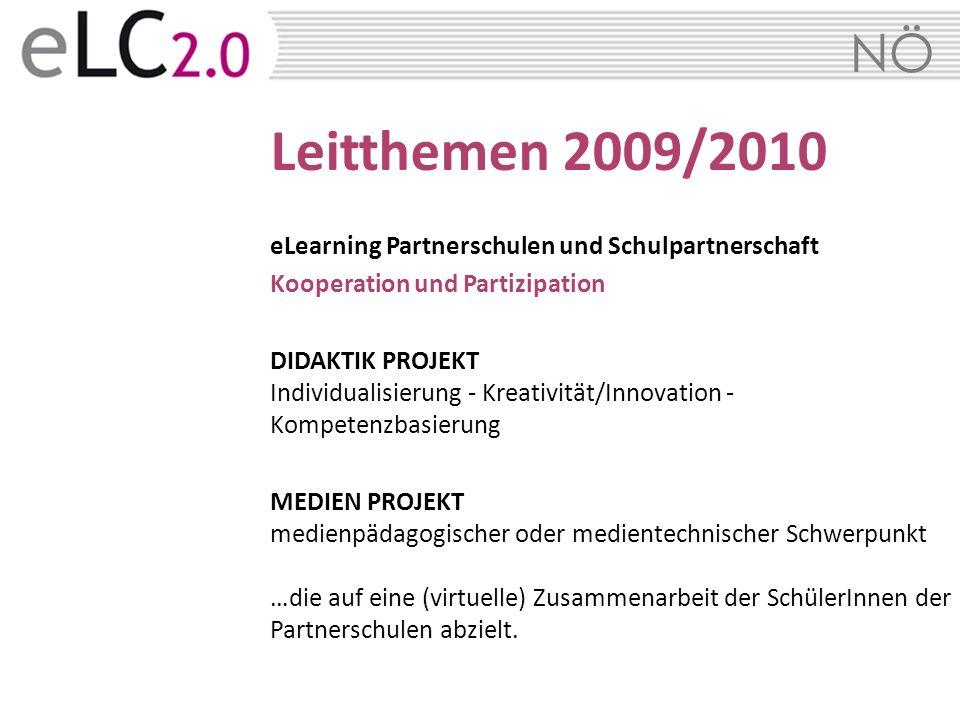 NÖ Leitthemen 2009/2010 eLearning Partnerschulen und Schulpartnerschaft Kooperation und Partizipation DIDAKTIK PROJEKT Individualisierung - Kreativitä