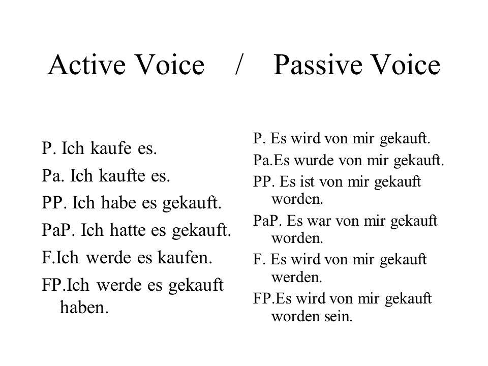 Active Voice / Passive Voice P. Ich kaufe es. Pa.