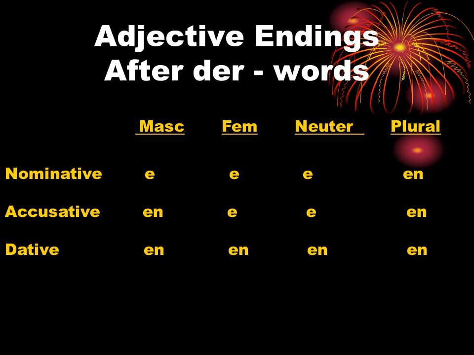 Adjective Endings After der - words Masc Fem Neuter Plural Nominative e e e en Accusative en e e en Dative en en en en