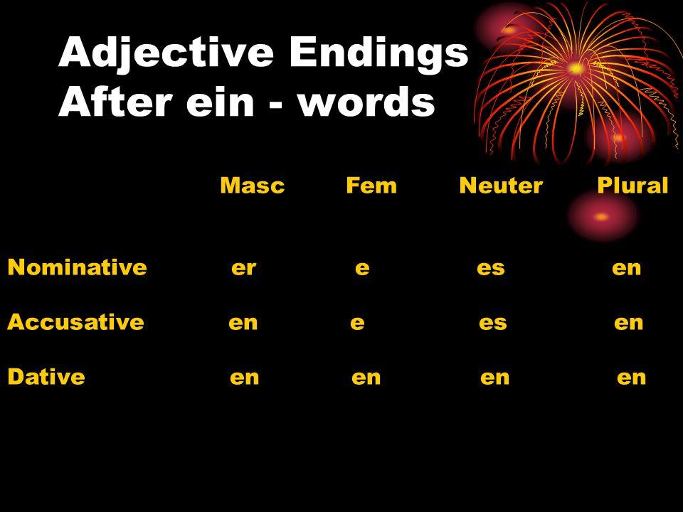 Adjective Endings After ein - words Masc Fem Neuter Plural Nominative er e es en Accusative en e es en Dative en en en en