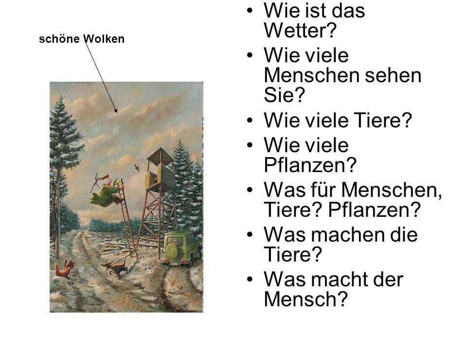 ein Mann der Fuchs der Baum: eine Fichte der Geländerwagen der Jagdhund der Wald der Name des Zeichners ein Bild ein Gewehr ein Gebäude ein Hochsitz