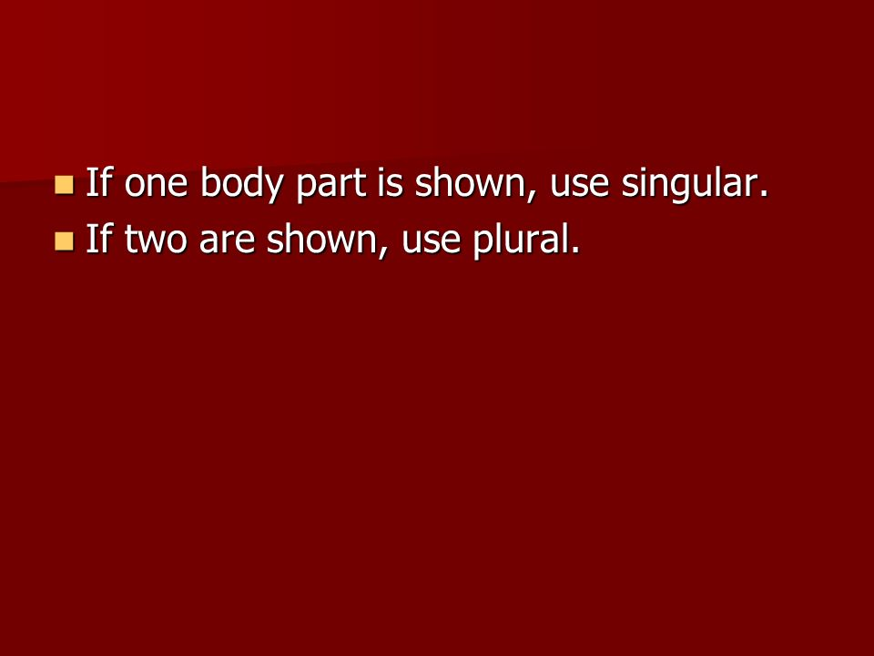 If one body part is shown, use singular. If one body part is shown, use singular.