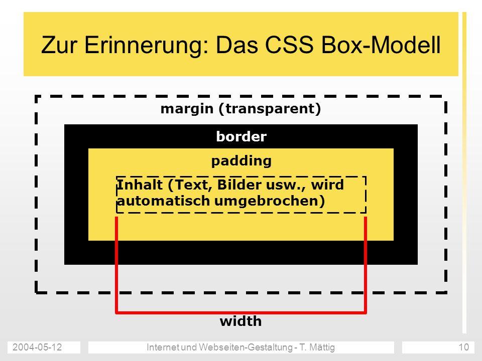 2004-05-12Internet und Webseiten-Gestaltung - T. Mättig10 Zur Erinnerung: Das CSS Box-Modell margin (transparent) border padding Inhalt (Text, Bilder