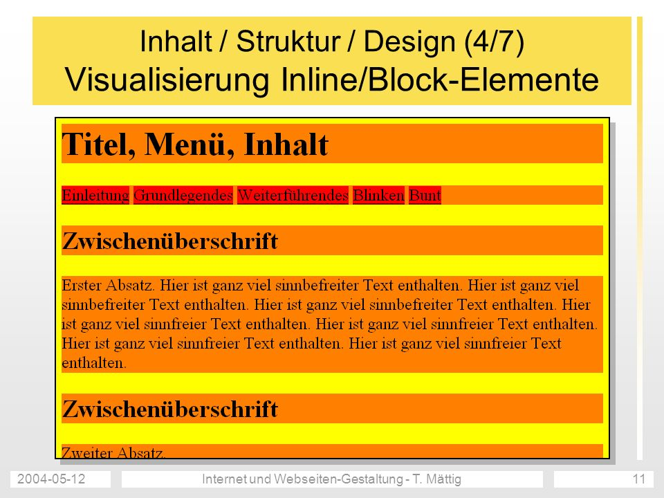 2004-05-12Internet und Webseiten-Gestaltung - T. Mättig11 Inhalt / Struktur / Design (4/7) Visualisierung Inline/Block-Elemente