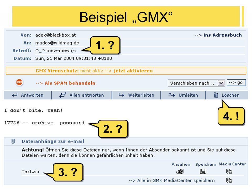 2004-04-28Internet und Webseiten-Gestaltung - T. Mättig6 Beispiel GMX 2. ? 1. ? 3. ? 4. !
