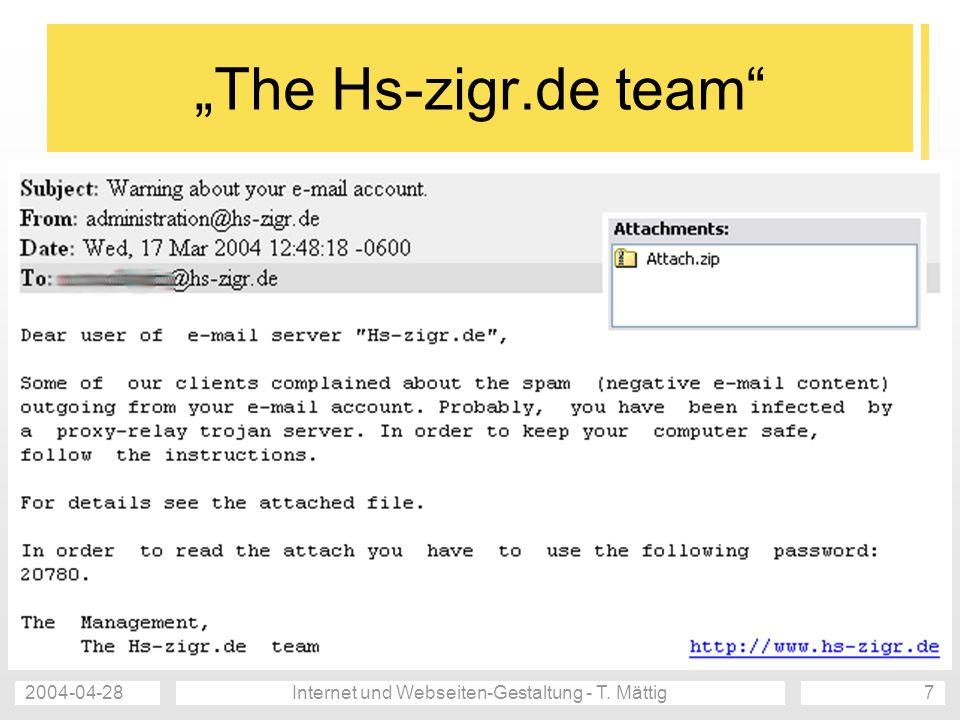 2004-04-28Internet und Webseiten-Gestaltung - T. Mättig7 The Hs-zigr.de team