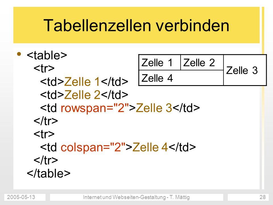 2005-05-13Internet und Webseiten-Gestaltung - T. Mättig28 Tabellenzellen verbinden Zelle 1 Zelle 2 Zelle 3 Zelle 4 Zelle 1Zelle 2 Zelle 3 Zelle 4