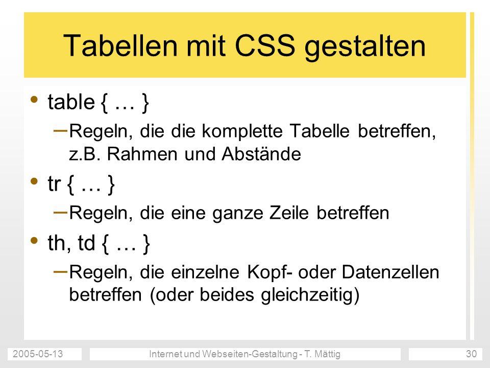 2005-05-13Internet und Webseiten-Gestaltung - T. Mättig30 Tabellen mit CSS gestalten table { … } – Regeln, die die komplette Tabelle betreffen, z.B. R
