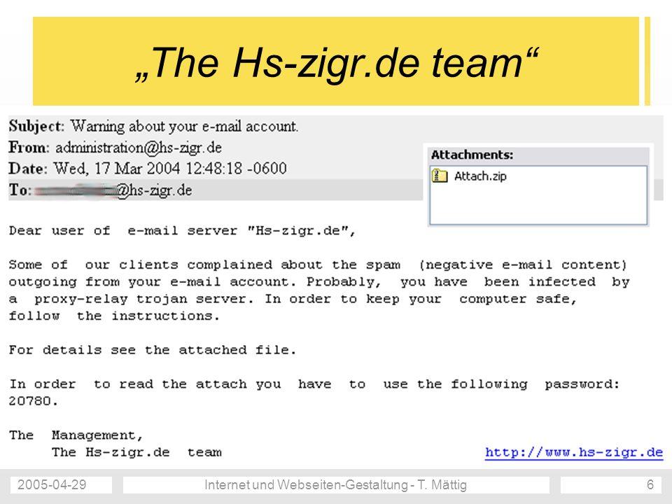 2005-04-29Internet und Webseiten-Gestaltung - T. Mättig7 Mail Delivery Failure unsichtbar