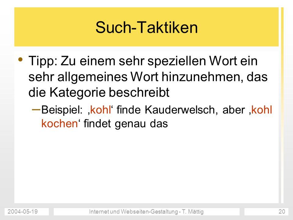 2004-05-19Internet und Webseiten-Gestaltung - T.
