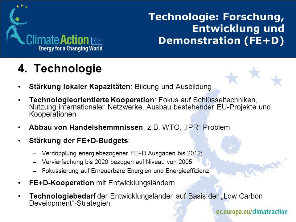 Technologie: Forschung, Entwicklung und Demonstration (FE+D) 4. Technologie Stärkung lokaler Kapazitäten: Bildung und Ausbildung Technologieorientiert