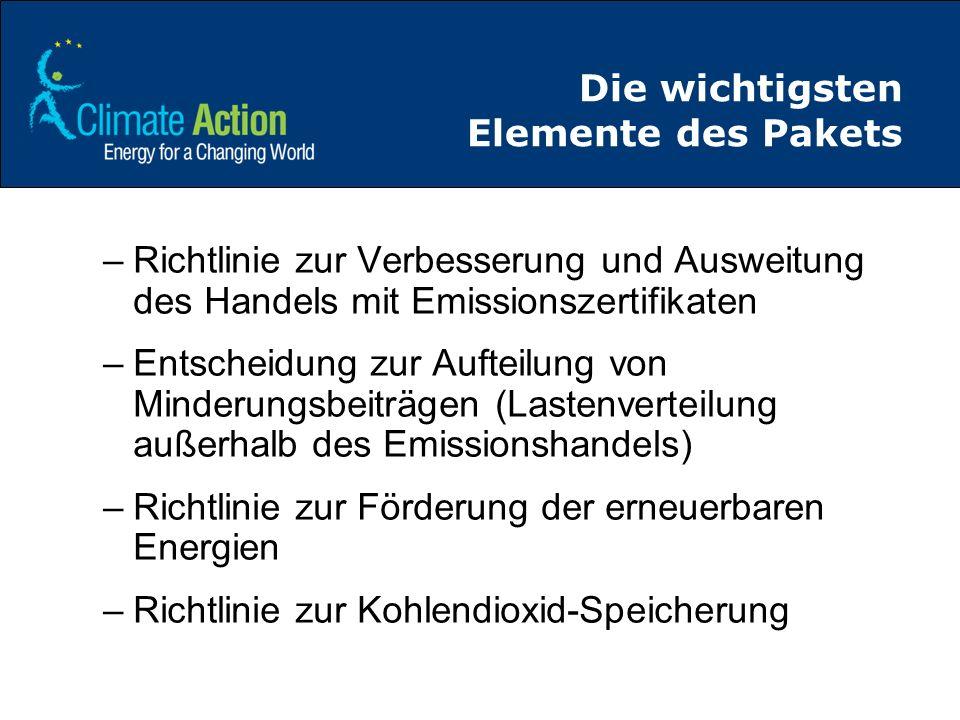 Die wichtigsten Elemente des Pakets –Richtlinie zur Verbesserung und Ausweitung des Handels mit Emissionszertifikaten –Entscheidung zur Aufteilung von