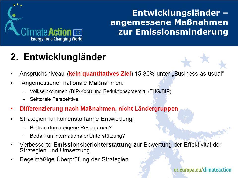 Entwicklungsländer – angemessene Maßnahmen zur Emissionsminderung 2. Entwicklungländer Anspruchsniveau (kein quantitatives Ziel) 15-30% unter Business
