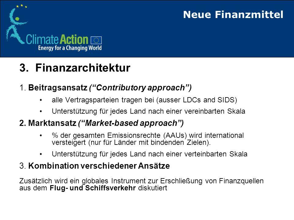 Finanzierung von Maßnahmen in Entwicklungsländern 20202013 Emissionsreduktion Energie, Industrie, Landwirtschaft Kohlenstoffmarkt FE+D Zuschüsse von Industrieländern Eigene Ressourcen EL/Kreditprogramme Reduzierung von Entwaldung (REDD) Zuschüsse von Industrieländern Eigene Ressourcen EL/Kreditprogramme AnpassungZuschüsse von Industrieländern Eigene Ressourcen EL/Kreditprogramme Stärkung von KapazitätenZuschüsse von Industrieländern (starting in 2010) >1/2 von 175 Mrd p.a.