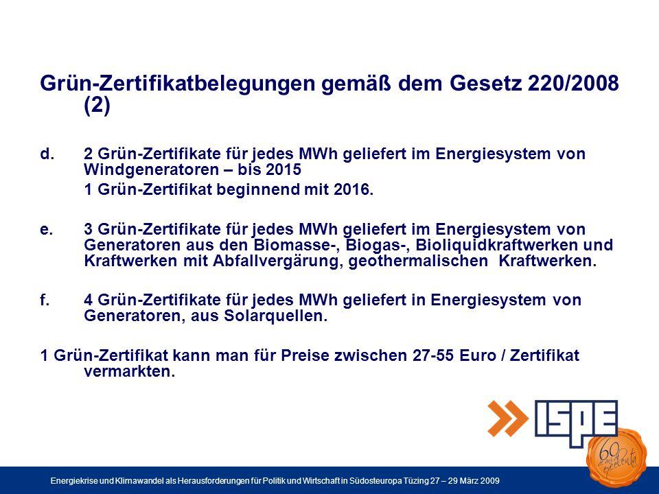 Energiekrise und Klimawandel als Herausforderungen für Politik und Wirtschaft in Südosteuropa Tüzing 27 – 29 März 2009 Grün-Zertifikatbelegungen gemäß dem Gesetz 220/2008 (2) d.2 Grün-Zertifikate für jedes MWh geliefert im Energiesystem von Windgeneratoren – bis 2015 1 Grün-Zertifikat beginnend mit 2016.