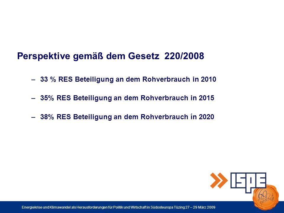Energiekrise und Klimawandel als Herausforderungen für Politik und Wirtschaft in Südosteuropa Tüzing 27 – 29 März 2009 Perspektive gemäß dem Gesetz 220/2008 –33 % RES Beteiligung an dem Rohverbrauch in 2010 –35% RES Beteiligung an dem Rohverbrauch in 2015 –38% RES Beteiligung an dem Rohverbrauch ín 2020