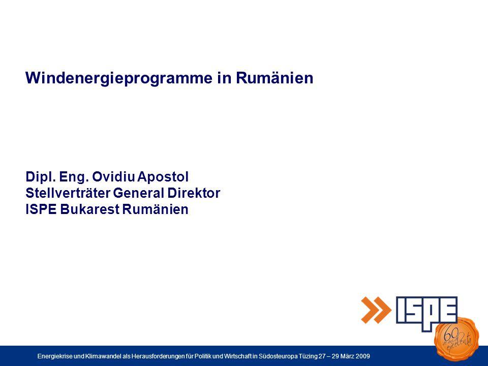 Energiekrise und Klimawandel als Herausforderungen für Politik und Wirtschaft in Südosteuropa Tüzing 27 – 29 März 2009 Danke für Ihre Aufmerksamkeit.