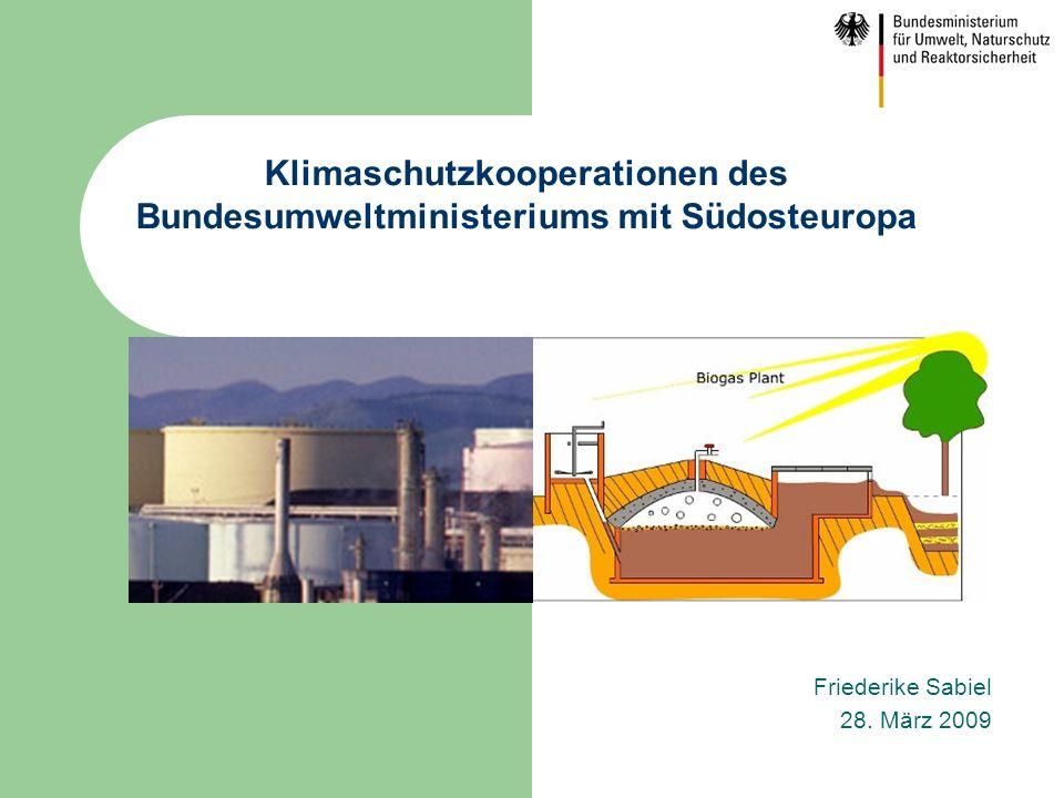 Friederike Sabiel 28. März 2009 Klimaschutzkooperationen des Bundesumweltministeriums mit Südosteuropa