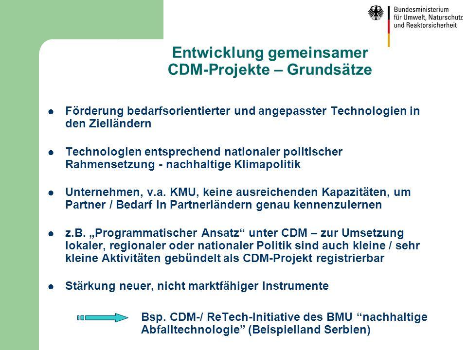 Entwicklung gemeinsamer CDM-Projekte – Grundsätze Förderung bedarfsorientierter und angepasster Technologien in den Zielländern Technologien entsprech