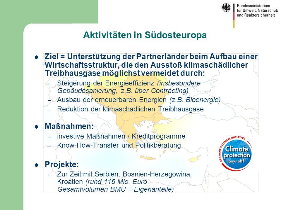 Aktivitäten in Südosteuropa Ziel = Unterstützung der Partnerländer beim Aufbau einer Wirtschaftsstruktur, die den Ausstoß klimaschädlicher Treibhausga