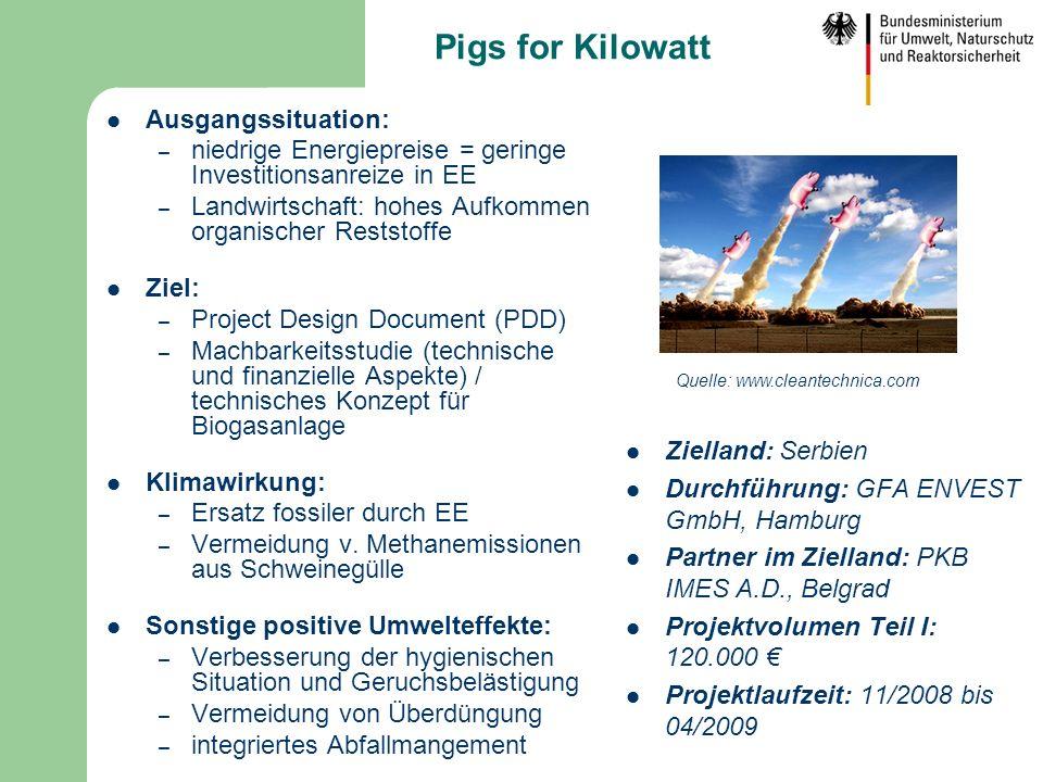 Pigs for Kilowatt Ausgangssituation: – niedrige Energiepreise = geringe Investitionsanreize in EE – Landwirtschaft: hohes Aufkommen organischer Restst