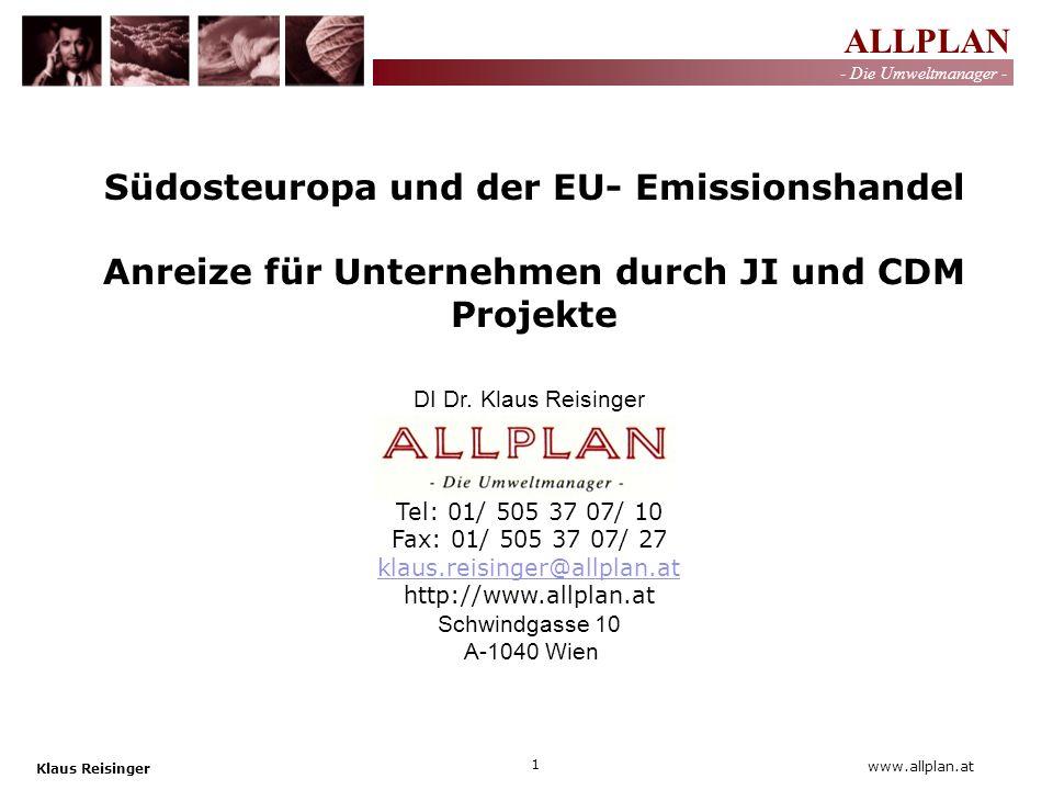 ALLPLAN - Die Umweltmanager - Klaus Reisinger 2 www.allplan.at Gliederung: Vorstellung Klimaschutz/ Emissionshandelsrichtlinie Energieeffizienz in der Industrie Zusammenfassung