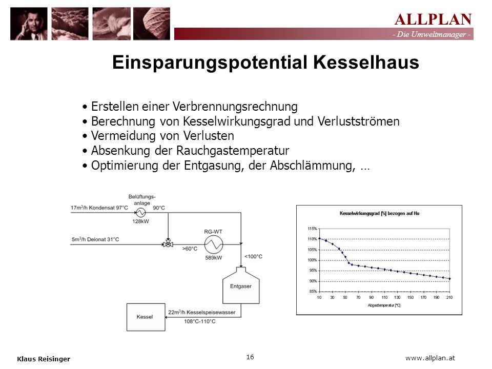 ALLPLAN - Die Umweltmanager - Klaus Reisinger 16 www.allplan.at Erstellen einer Verbrennungsrechnung Berechnung von Kesselwirkungsgrad und Verlustströ