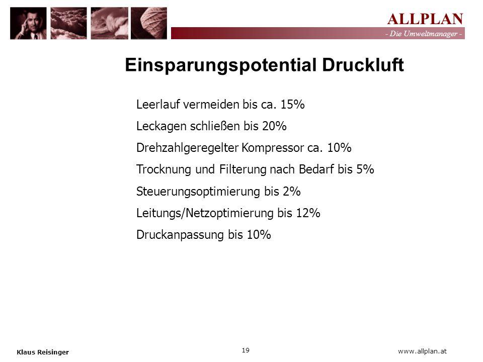 ALLPLAN - Die Umweltmanager - Klaus Reisinger 19 www.allplan.at Einsparungspotential Druckluft Leerlauf vermeiden bis ca. 15% Leckagen schließen bis 2